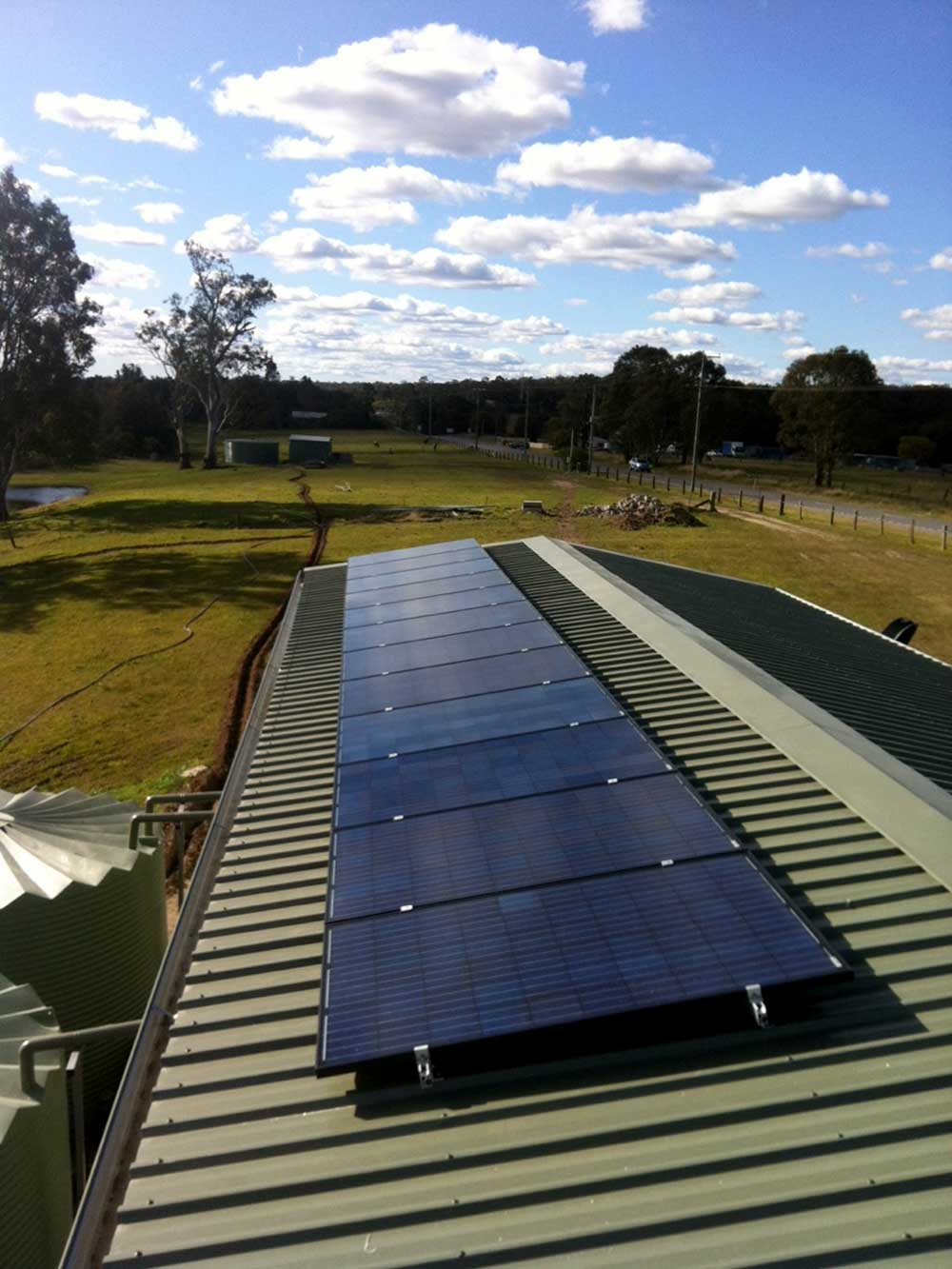Rooftop panels on a country home near Newcastle