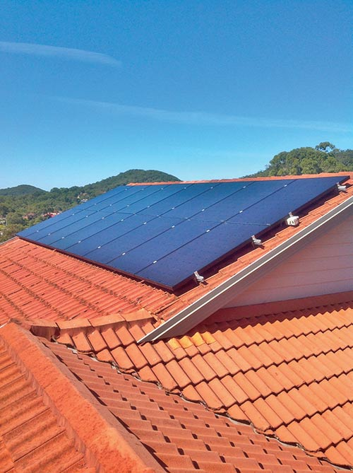 Solar rooftop panels on a home in Newcastle NSW